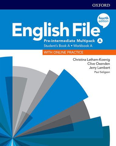 ENGLISH FILE PRE INTERMED MULTIPACK A SB + Online Prac + WB Key 4th Ed