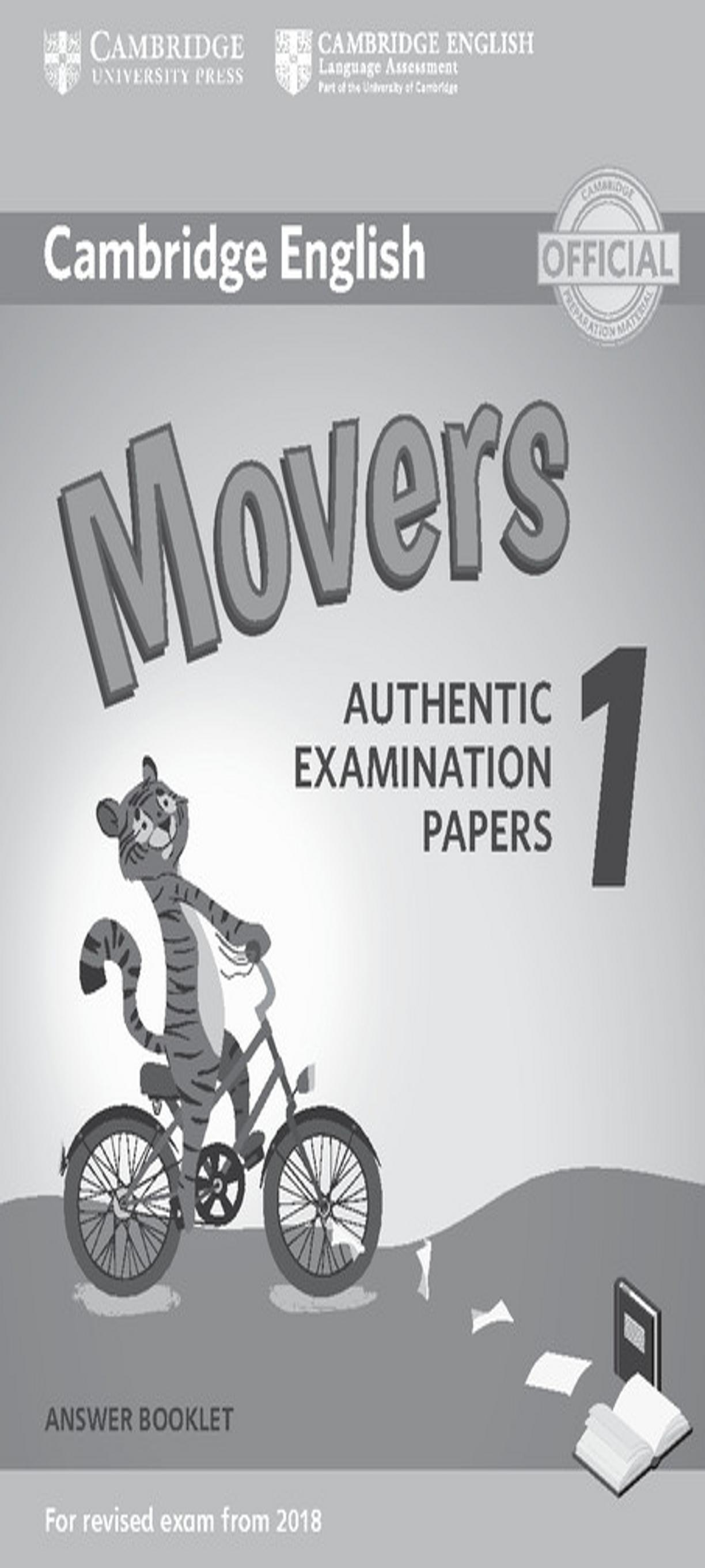 CAMBRIDGE MOVERS 1 Answer Booklet  Exam Papers Revised Exam 2018