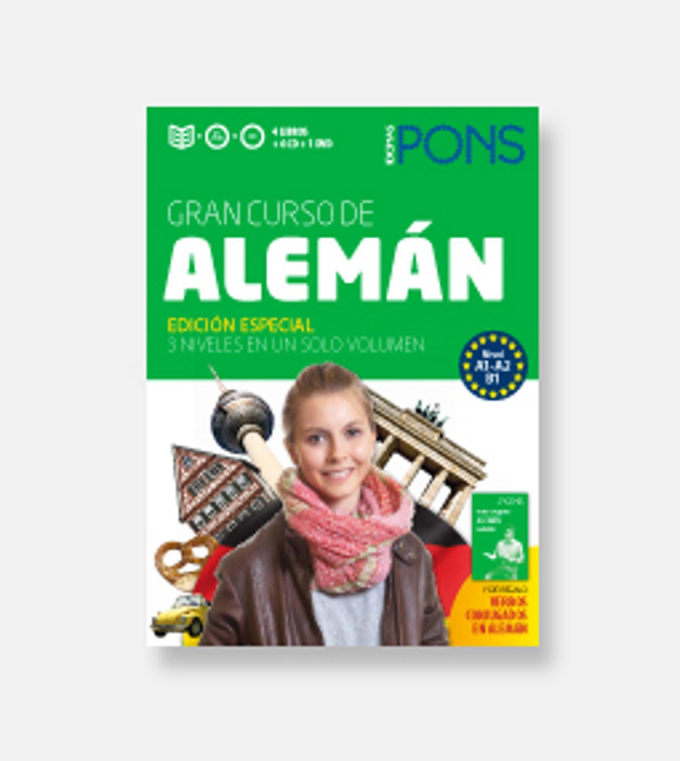 ALEMÁN GRAN Curso PONS Autoaprendizaje 4 Libros + 6 CDs + DVD + Verbo
