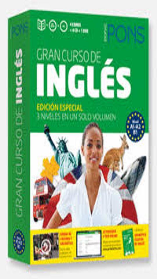 INGLÉS GRAN Curso PONS Autoaprendizaje 4 Libros + 6 CDs + DVD + Gramat
