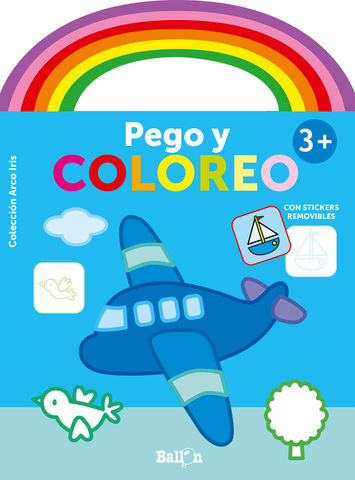 ARCO IRIS PEGO Y COLOREO +3 AVION